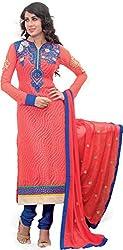 Renisha Fashion Women's Brasso Unstitched Salwar Suit (Orange)