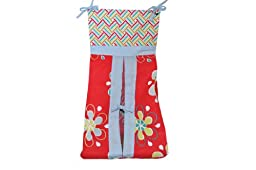 DK Leigh Red Graphic Floral Diaper Stacker NEW