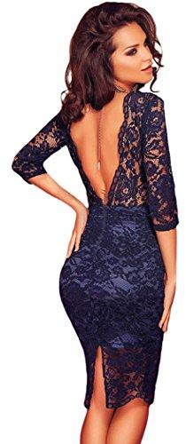 YeeATZ Navy Blue Lace Padded Bust V Back Party Dress(Size,M)