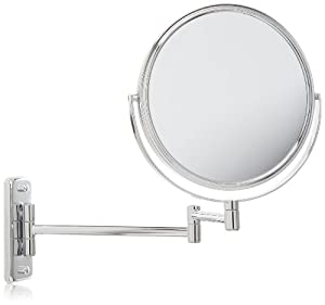 Jerdon JP7808C 8-Inch Two-Sided Swivel Wall Mount Mirror with 8x Magnification, 13.5-Inch Extension, Chrome Finish