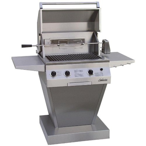 Solaire Gas Grills 27 Inch Deluxe All Convection Natural Gas Grill With Rotisserie On Angular Pedestal Base