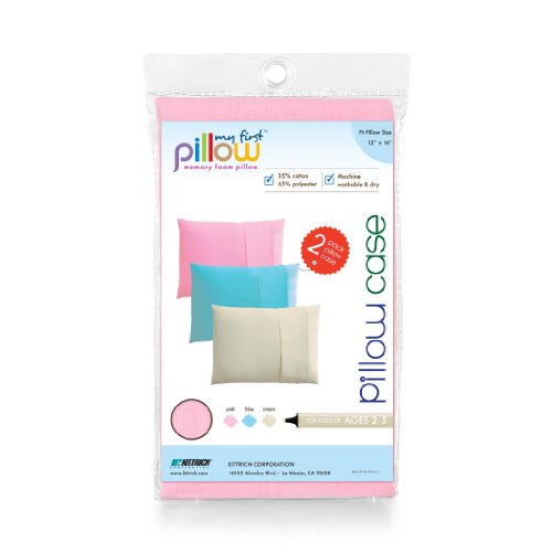My First Mattress Pillow Set of Two Toddler Pillow Cases, Soft Pink