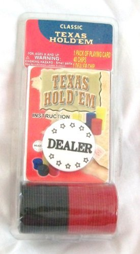 Texas Hold'Em Pack of Playing Cards & 40 Poker Chips with Instructions
