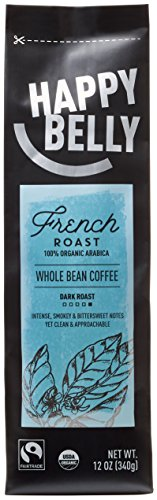 Happy Belly French Roast Organic Fairtrade Coffee, Dark Roast, Whole Bean, 12 ounce (Amazon Coffee Beans compare prices)