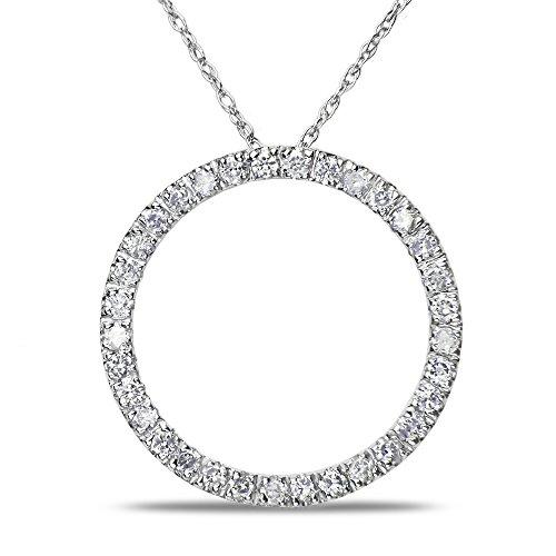 Ladies 1/2Ct Diamond Circle Pendant In 14K White Gold