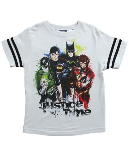 Warner Bros. Little Boys' Justice League Justice Time Tee, Gray, 04 front-388055