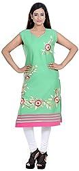 Amafhh Women's Rayon Regular Fit Kurta (amfkr7417green, Green, X-Large)
