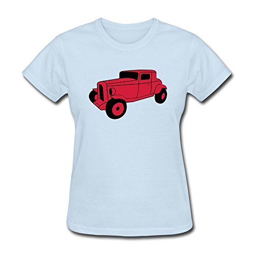 Jeff Women Hot Rod Car T-Shirt Skyblue Medium