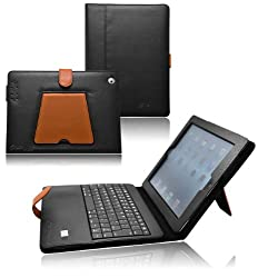 Ionic Bluetooth Keyboard Tablet Stand Leather Case For Apple iPad 2, iPad 3, iPad 4, iPad 2nd, iPad 3rd, iPad 4th Generation Tablet AT&T Verizon 4G LTE (BlackBrown)
