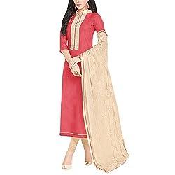 Applecreation Red Chanderi Silk Salwar Kameez