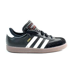 adidas Samba Classic Leather Soccer Shoe (Toddler/Little Kid/Big Kid),Black/Runing White,2.5 M US Little Kid