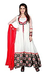 BanoRani Off White & Red Color Net & Floral Jacquard Full length Anarkali With Zari & Lace Work Unstitched Salwar Suit Dress Material
