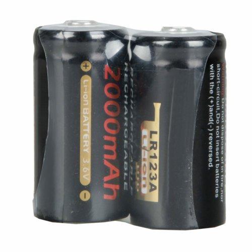 2Pcs LR123A 2000mAh 3.6V Rechargeable Lithium Battery
