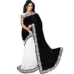 Mahadev Half Half Party Wear Velvet & Net Jacquard Saree for Women with embroidered work lace and blouse(Black, Free size , MRC_12 ) ( with discount and sale offer)