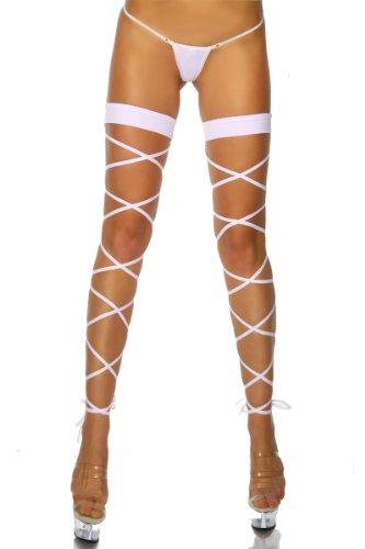 Cindio sexy Scharfe Clubwear Gogo Schnür-Leggings inklusive String in Weiß
