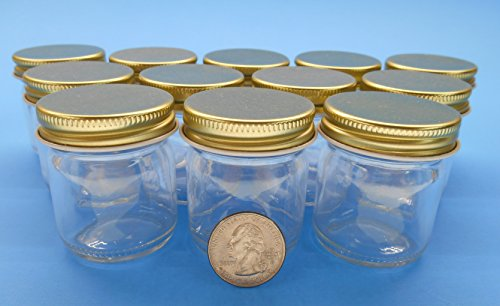 1.5 Ounce Small Glass Jelly Jars with Gold Metal Plastisol Lids. Jars and Lids Made in the USA. (12 Pack) (Empty Baby Food Jars With Lids compare prices)