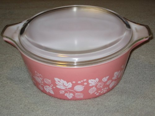 Vintage Pyrex 2 1/2 Quart Pink w/ White Gooseberry Covered Casserole Baking Dish w/ Lid