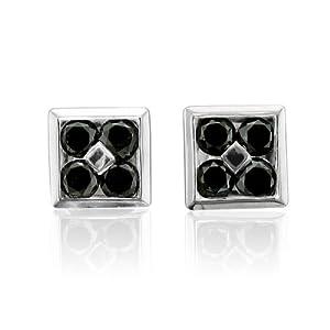 Amazon.com: Mens 10k White Gold Square Black Diamond ...