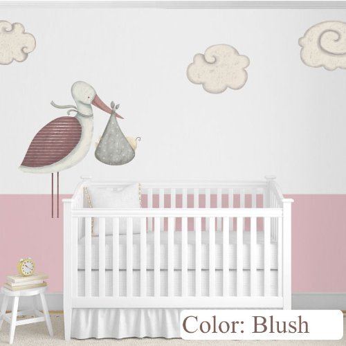 My Wonderful Walls Baby Nursery Wall Decor Standing Stork Decals and Cloud Wall Stickers, Blush