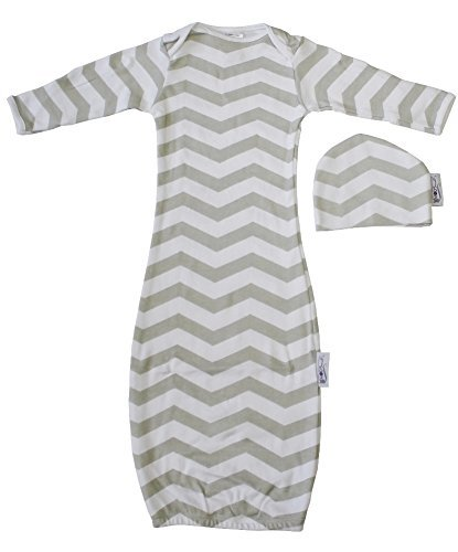 Woombie Indian Cotton Gowns Plus Hat, Gray Chevron Unisex, 7-15 Lbs
