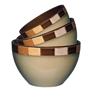 Gibson Casa Estebana 3-piece Bowl Set, Beige and Brown