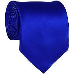 Sunshopping plain silk narrow black tie(black001) (royal blue)