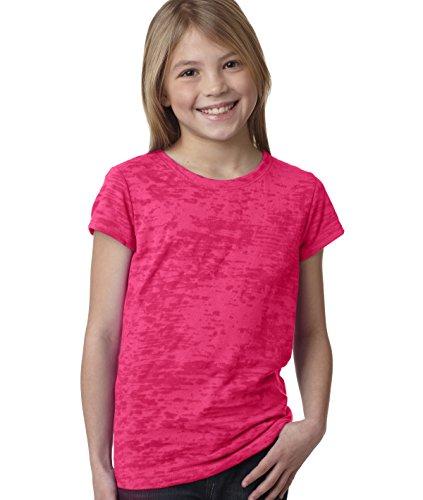 Next Level Youth Princess Burnout Tee 6510 - Shocking Pink_M front-755572