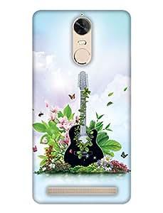 PrintHaat 3D Hard Polycarbonate Designer Back Case Cover for Lenovo K5 Note :: Lenovo Vibe K5 Note Pro (guitar lover :: guitar player :: Musical design :: Music note design :: Instrumental design :: Melody design :: Music rock design :: love playing on guitar)
