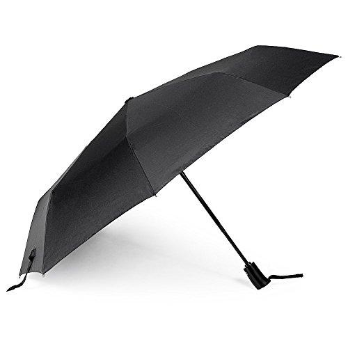 Binwo Compatto Pieghevole con apertura e chiusura automatica ombrello, ombrello da viaggio, portatile e leggero Super antivento Anti-UV Pioggia Sole Ombrello, nero