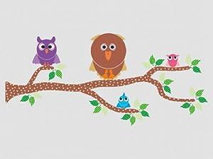 Pegatina decorativa con buhos, 40 piezas (los buhos miden entre 7 y 19 cm) en BebeHogar.com