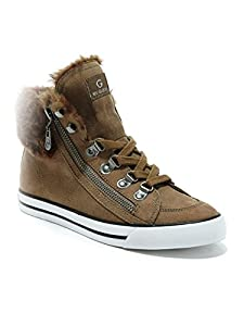 G by GUESS Women's Oshay Faux-Fur Sneakers, NATURAL (10)