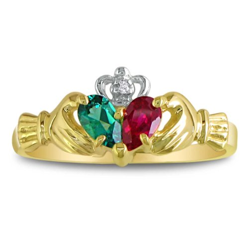 SuperJeweler Emerald and Ruby Claddaugh Ring in 10k Yellow Gold