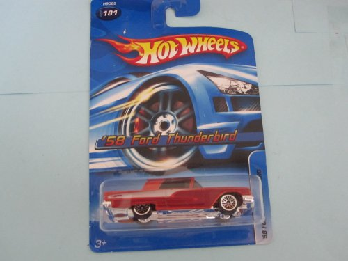'58 Ford Thunderbird metalflake red with tinted windows 	2005 Hot Wheels #181