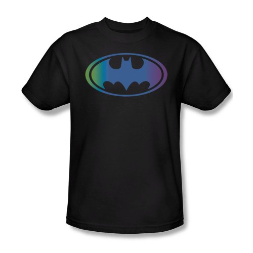 Batman Sheldon Neon Color Gradient Logo Black T-Shirt Tee (XXX-Large) at Gotham City Store