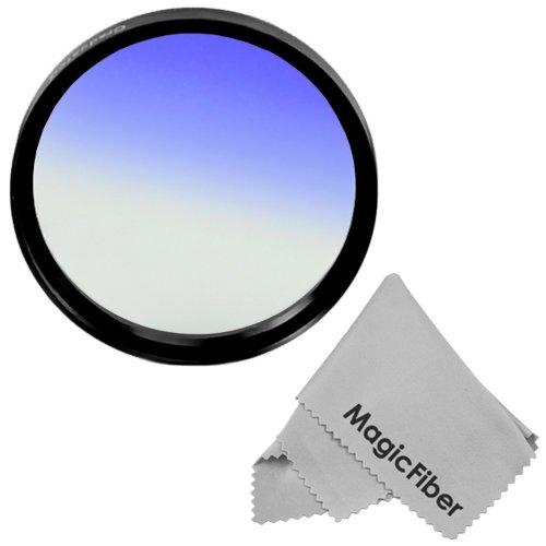 72Mm Goja Graduated Blue Lens Color Filter For Dslr Cameras + Premium Magicfiber Microfiber Cleaning Cloth