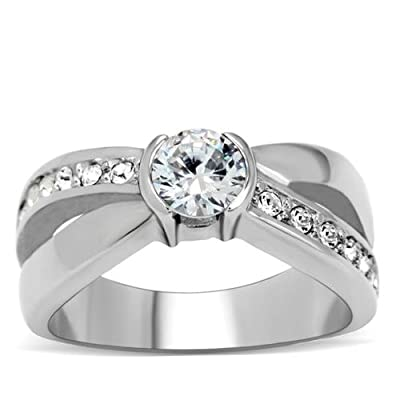 Ah! Jewellery Stainless Steel Stamped 316 Lab Created Diamond Ring. 5.5mm Centre Stone. 5.9gr Total Weight. 4mm Total Width. Diagonal Row of Brilliant Round Little Lab Diamonds. Lifetime Guarantee. Never Tarnish. Sensational Quality.