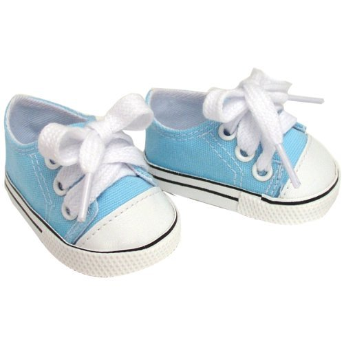 Blue Doll Shoes, Fits American Girl Dolls Sneakers, Light Blue Canvas