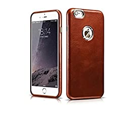 ICARER Leather iPhone 6Plus 6s plusr case 5.5 inch, Classic Vintage Series Real Genuine Luxury Protective Back Cover Ultra Slim for Apple iphone 6plus 6s plus 5.5 inch (Brown)