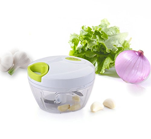 NEW Generation 3 Blades Manual Food Chopper: Compact & Powerful Hand Held Vegetable Chopper / Mincer / Blender to Chop