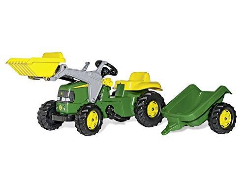 Rolly Toys 23110 - Trattore a Pedali Kid John Deere, con Ruspa e Rimorchio