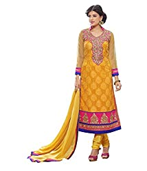 Monalisa Fabrics Women's Unstitched Dress Material (2254115_Yellow _Free Size)
