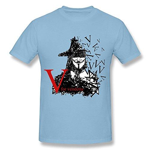 [Tea Time Men's T-shirt V For Vendetta The Mask Man SkyBlue Size XL] (Barack Obama Face Mask)