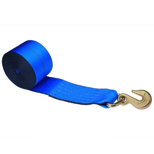 4 x 30' Winch Strap with Grab Hook Blue