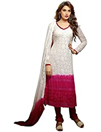 7thWonder Off-White & Pink Colored Chiffon With Karachi Work Embroidery Party Wear Semi-7WJ339DL1165