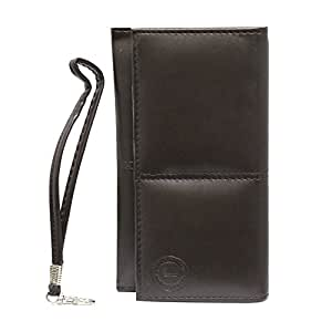 Jo Jo A5 G12 Leather Wallet Universal Pouch Cover Case For BQ Aquaris E5 HD Brown