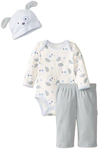 Vitamins Baby Baby-Boys Newborn Cute Dog 3 Piece Creeper Pant Set, Blue, 3 Months