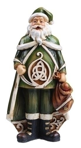 "Pack of 4 Celtic Charm Carved Woodcut-Style Irish Santa Christmas Figures 6"""