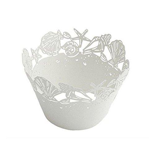PIXNOR 50pcs Papiers Emballages à Cupcakes Gâteau Décoration pr Fête Mariage (blanc)