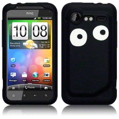 HTC- INCREDIBLE-S BLACK/WHITE EYES LASERED SILICONE SKIN / COVER / CASE / SHELL PART OF THE QUBITS ACCESSORIES RANGE