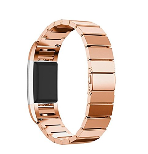 Bands for Fitbit Charge 2, SoftFloat Universal Stainless Steel Watch Band Strap Bracelet + Connector for 2016 Fitbit Charge 2 Heart Rate + Fitness Wristband, Smart Watch NOT Included, For Fitbit Charge 2 (Rose gold)